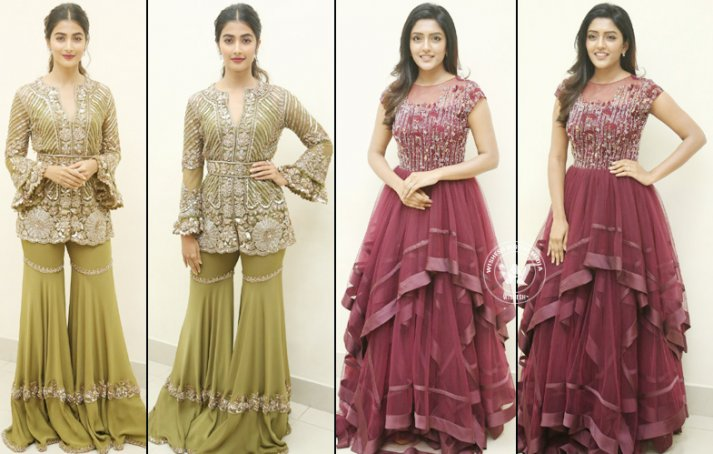 Pooja Hegde And Eesha Rebba At Aravinda Sametha Success Meet