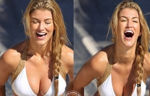 Amy Willerton on white bikini at waterpark