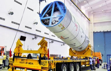 GSLV-F09 Second Stage During Vehicle Integration